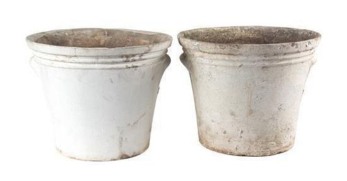 A Group of 6 Concrete Planters Height of largest 13 1/2 inches x depth 16 1/2 inches.