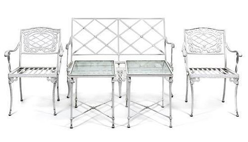 A Suite of White Painted Aluminum Garden Furniture Height of settee 33 x width 49 x depth 27 inches.
