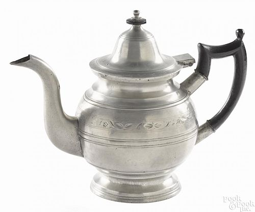Beverly, Massachusetts engraved pewter teapot, ca. 1835, bearing the touch of Eben Smith