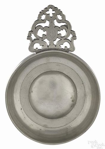 Norwich, Connecticut pewter porringer, ca. 1780, bearing the touch of John Danforth, 5 3/8'' dia.