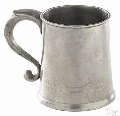 Philadelphia pewter mug, ca. 1820, bearing the touch of John H. Palethorp, 4'' h.