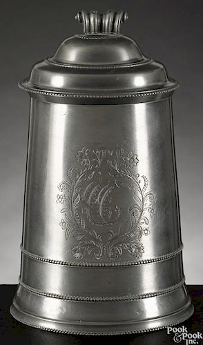 Fine Philadelphia pewter tankard, ca. 1780, attributed to William Will, with beaded bands