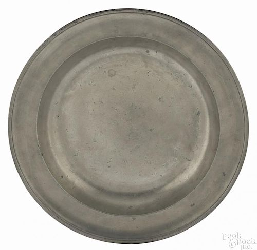 New York pewter deep dish, ca. 1785, bearing the touch of Peter Young, 13 1/2'' dia.