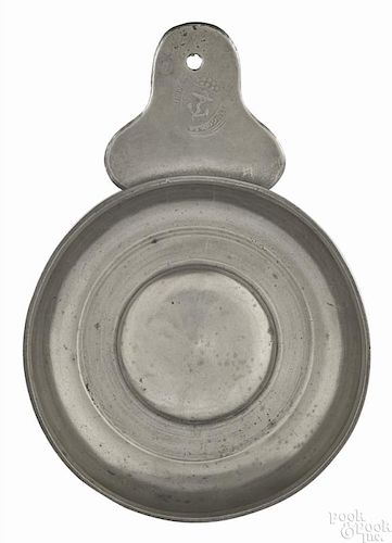 Newport, Rhode Island pewter tab handle porringer, ca. 1795, bearing the touch of Thomas Melville