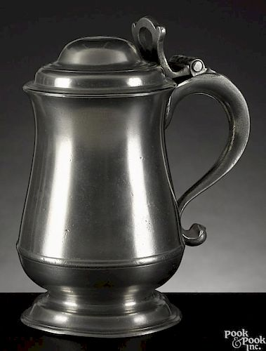 Philadelphia pewter tankard, ca. 1780, bearing the touch of William Will, 8'' h.