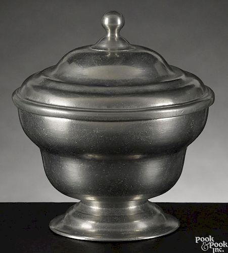Philadelphia pewter sugar bowl, ca. 1780, attributed to William Will, 4 3/4'' h.