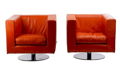 10e2acd841705 Pair of Mid Century Modern Leather Armchairs. Lot 1025. Prev Lot · Next Lot  · item Image