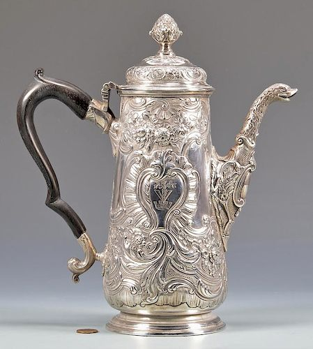 18th Cent. Irish Sterling Coffee or Chocolate Pot