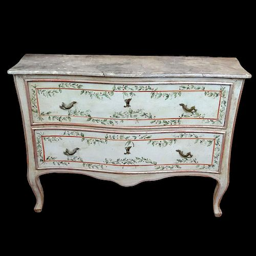Mid 20th Century Italian, painted 2 drawer commode