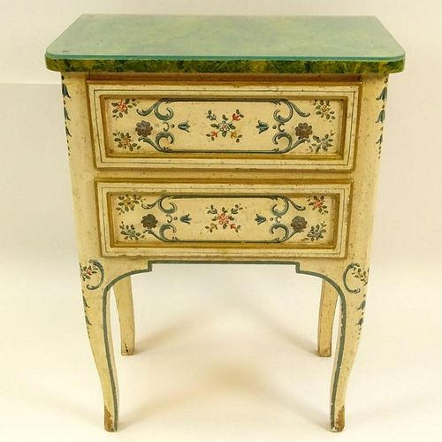 Mid 20th Century Probably Italian Painted and Parcel Gilt 2 drawer small commode
