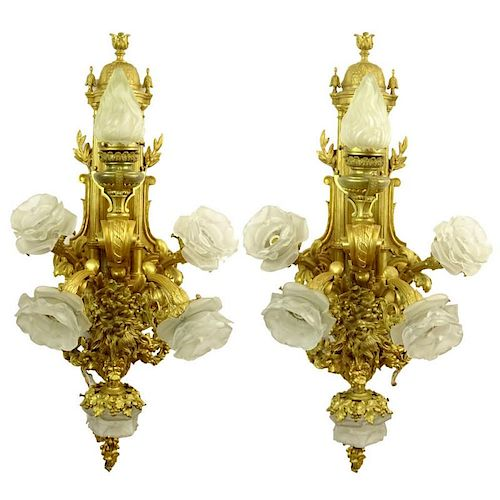 Large and Heavy French Gilt Bronze Six (6) Light Sconces