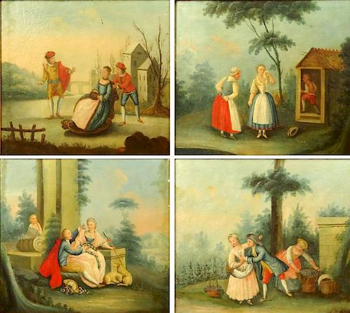 "Lot of 4 Italian 19th Century oil on canvas paintings ""Genre Scenes in the 18th Century style""."