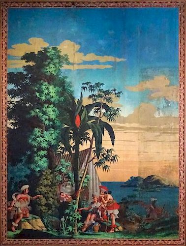 Large 18/19th Century Zuber et Cie. Mounted Scenic Wallpaper panels depicting exotic native scene. Unsigned. Old restoration, good antique condition.