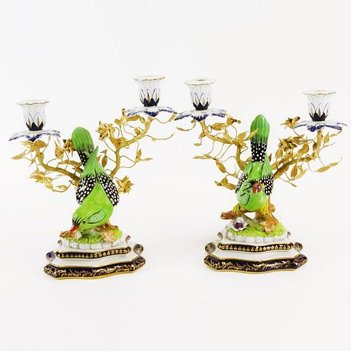 """Pair of 20th Century Sevres Ormolu Bronze and Porcelain Figural Bird 2 Light Candelabra. Signed with Sevres Mark. Good condition. Measures 9-3/4"""" H x"""