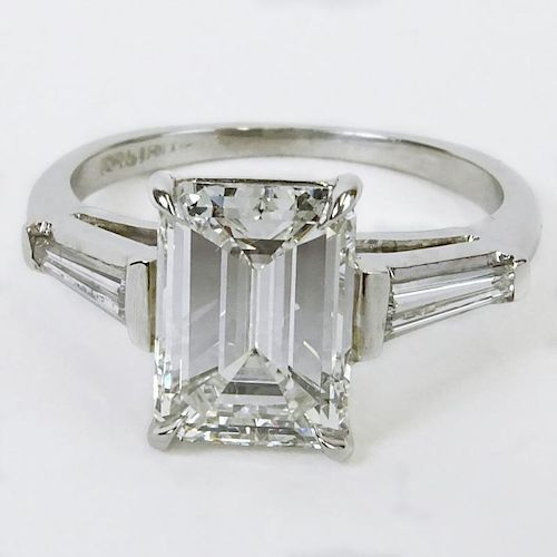 GIA Certified 2.37 Carat Emerald Cut Diamond Engagement Ring. Diamond G color, VVS2 clarity. Diamond measures 9.36 x 6.86 x 4.15mm. Signed Platinum. V