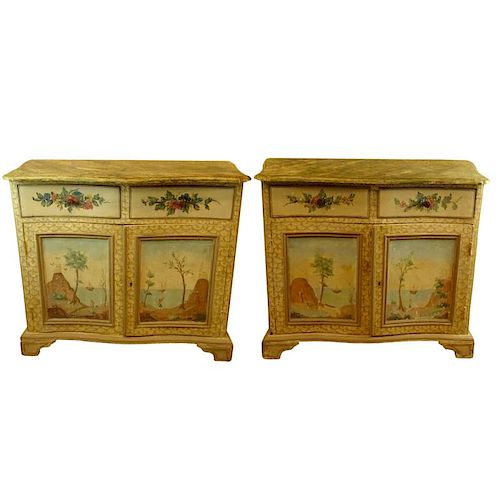 Pair of 19th Century Probably Italian Distressed Painted 2 Door, 2 Drawer Pine Cabinets with Faux Marble Painted Tops. Unsigned. Antique condition. Me