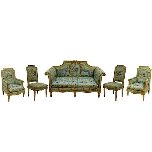 19th Century French Louis XVl Style, carved painted and parcel gilt 5 piece salon set. Includes canape, 2 bergeres, 2 side chairs. Unsigned. Rubbing,