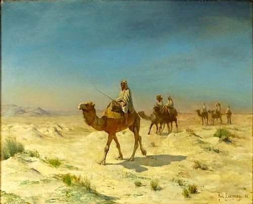 Paul Jean Baptiste Lazerges, French (1845-1902) Oil on Canvas, Desert Caravan. Signed lower right and dated 1888. Laid on masonite, good conserved con