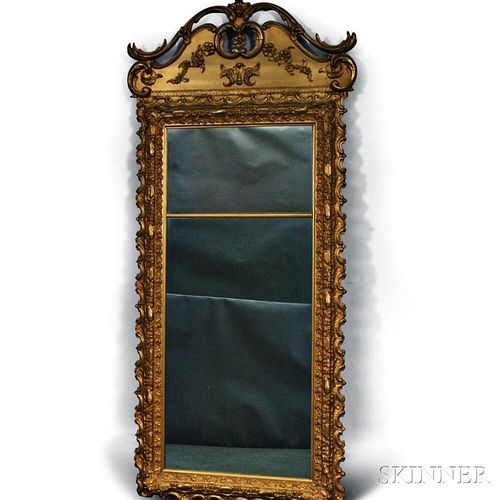 Large Queen Anne-style Gilt Gesso Looking Glass