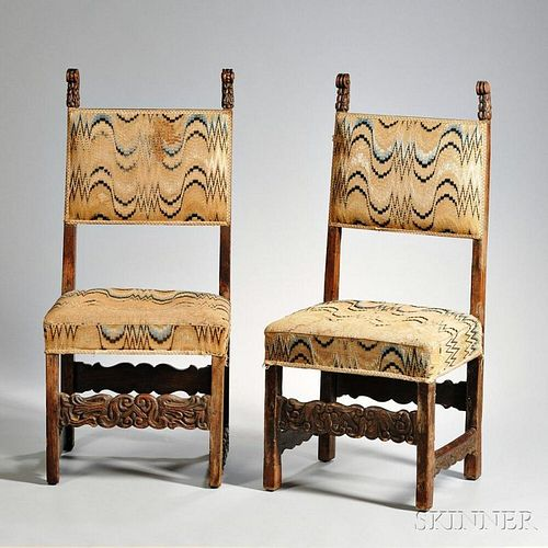 Pair of Italian Baroque Walnut Chairs