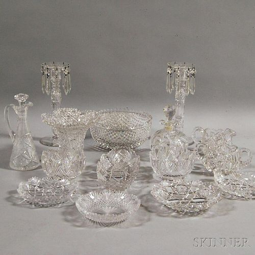 Seventeen Pieces of American Brilliant-cut Colorless Glass.