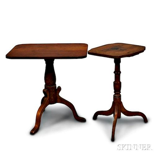 Two Federal-style Maple Candlestands