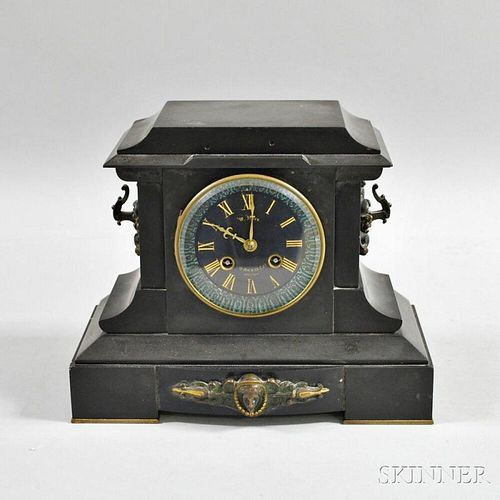 Belgian Black Slate Mantel Clock