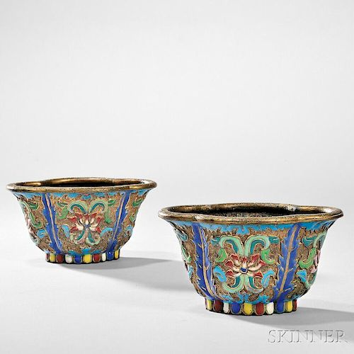 Pair of Champleve Planters