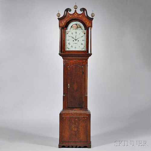 W. Wilkinson Mahogany and Oak Veneered Longcase Clock