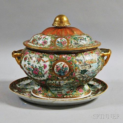 Rose Medallion Porcelain Covered Tureen and Underplate