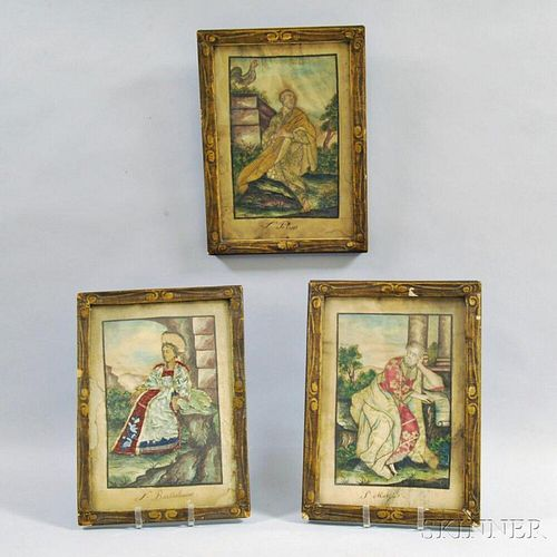 Three Framed Watercolor and Silk Pictures of Saints