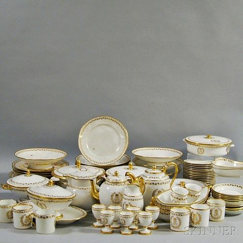 Approximately Seventy-three Pieces of Gilt Sevres Porcelain Tableware