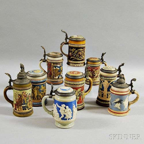 Nine Mettlach and Villeroy & Boch Stoneware Steins