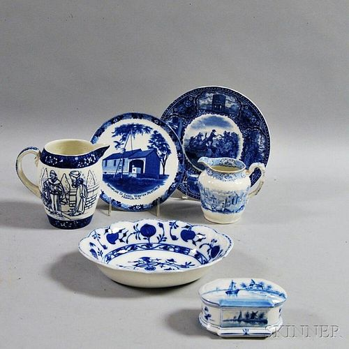 Six Pieces of Blue and White Ceramics