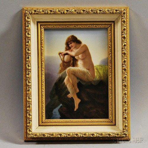 Framed Figural-painted Porcelain Plaque