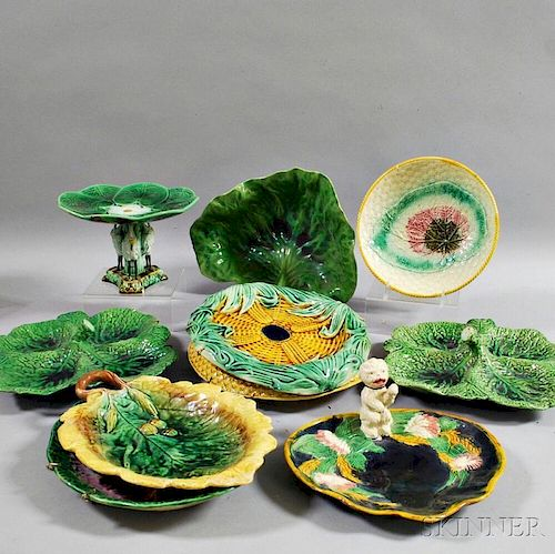 Ten Majolica Pottery Items