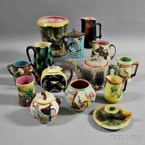 Fourteen Majolica Pottery Items