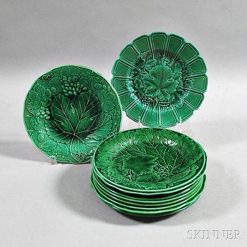 Ten Majolica Pottery Leaf Plates