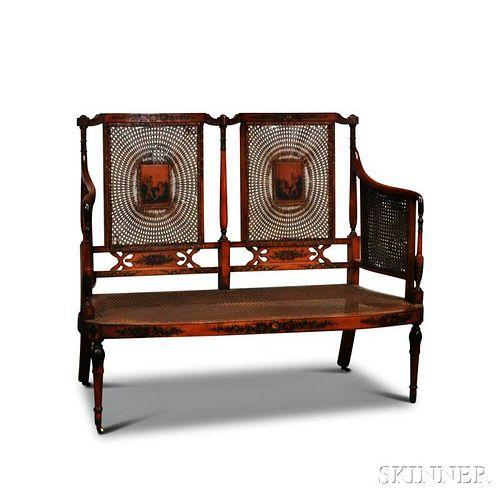 Edwardian Adam's-style Satinwood Paint-decorated Caned Settee