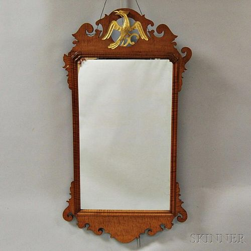 Chippendale-style Carved Tiger Maple Scroll-frame Mirror