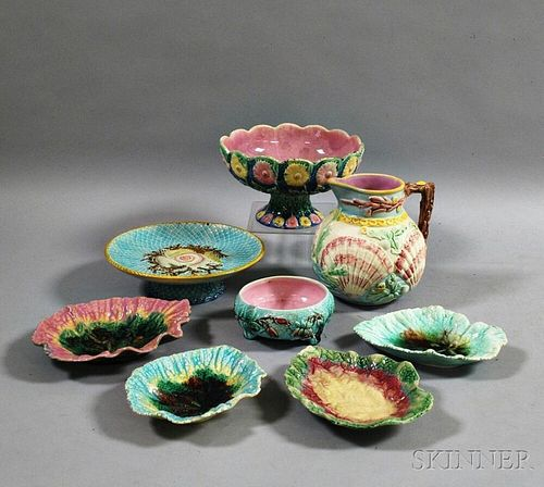 Eight Pieces of Majolica Pottery
