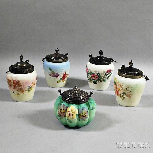 Five Mount Washington-type Biscuit Jars