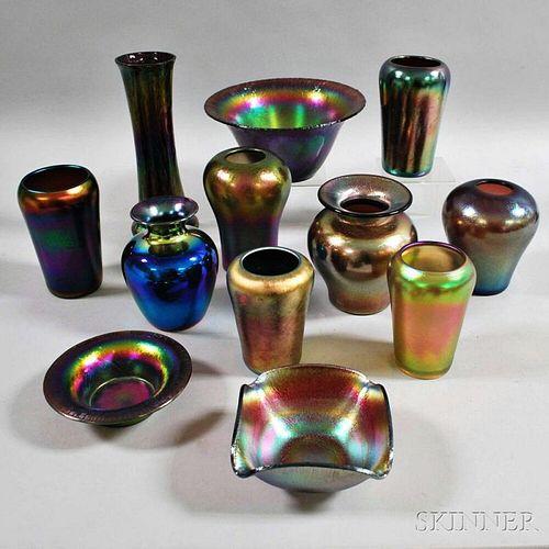 Twelve Imperial Iridescent Art Glass Items