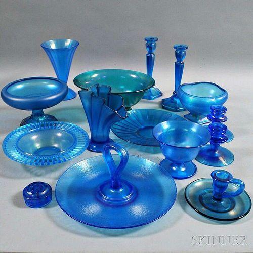 Fifteen Blue Iridescent Glass Items