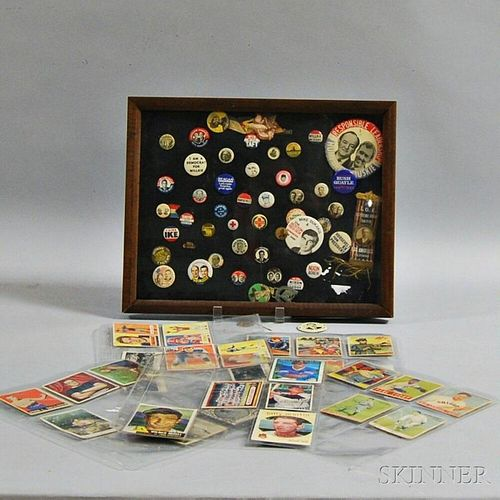 Group of Trading Cards and Political Pins
