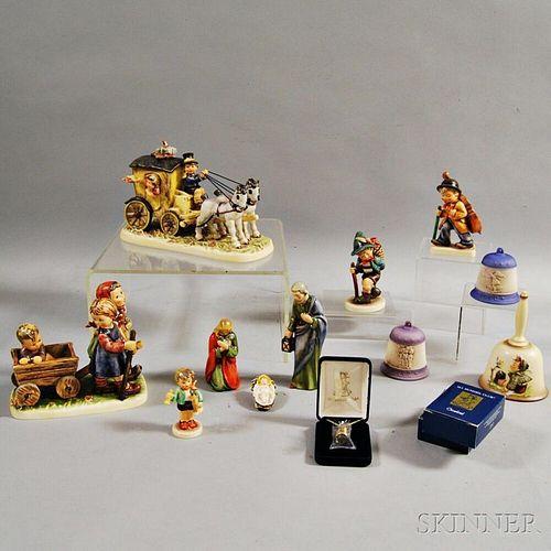 Thirteen Ceramic Hummel Figures and Ornaments