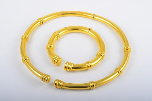 Lalaounis Gold Necklace And Bangle Set in Box by Fortuna Auction