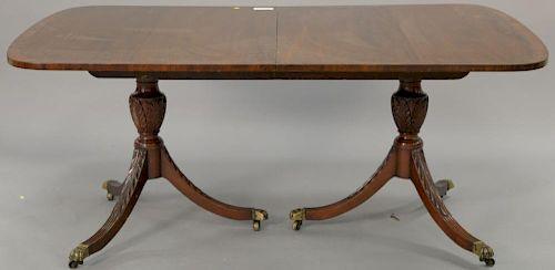 Kittinger Mahogany Banded Inlay Double Pedestal Dining Table