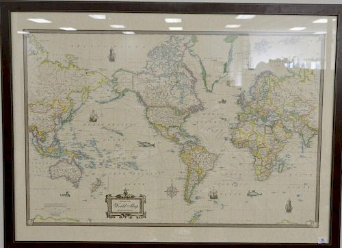 Antique Style World Map American Map Corporation Framed 37 3 4 X