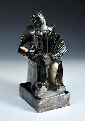 Accordeoniste', a bronze model after the original by Jan and Joël Martel, French (1896-1966), the si